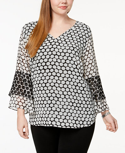 Calvin Klein Plus Size Tiered-Sleeve Top