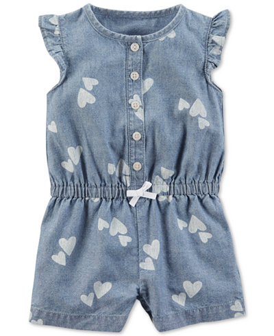 Carter's Cotton Chambray Romper, Baby Girls