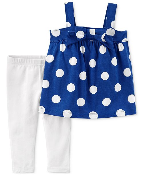 c87f221e8b2 Carter's 2-Pc. Dot-Print Tunic & Leggings Set, Baby Girls - Sets ...