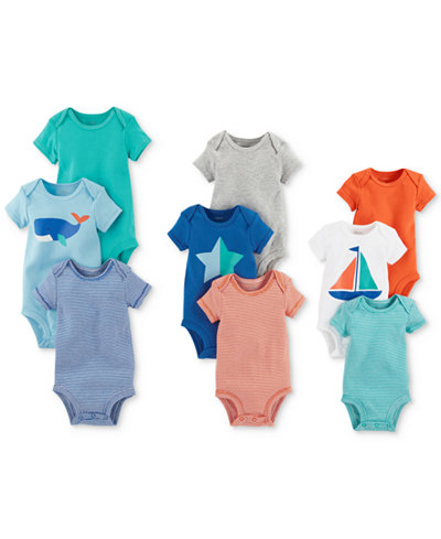 Carter's 9-Pk. Grow With Me Cotton Bodysuits Set, Baby Boys