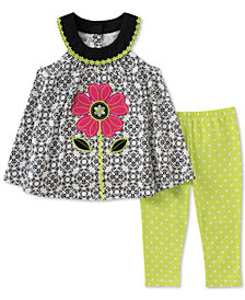 Kids Headquarters 2-Pc. Floral Tunic & Leggings Set, Baby Girls