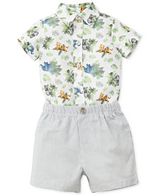 Little Me 2-Pc. Printed Cotton Bodysuit & Shorts Set, Baby Boys