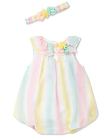 Little Me 2-Pc. Popover Striped Romper & Headband Set, Baby Girls