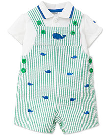 Little Me 2-Pc. Whale-Print Cotton Overall Set, Baby Boys
