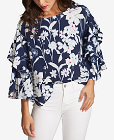 1.STATE Printed Tiered-Sleeve Top