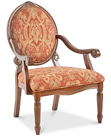 Rory Fabric Royal Burgundy Oval Back Accent Chair, Quick Ship