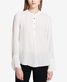 Calvin Klein Pleated-Cuff Blouse, Regular & Petite Sizes