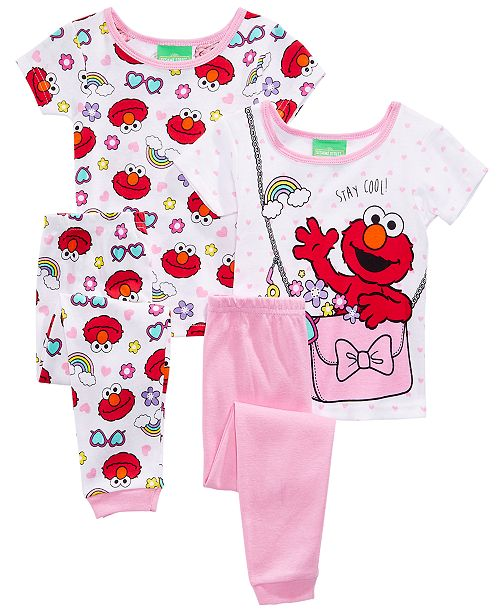 Ame Sesstreet Elmo 4 Pc Stay Cool Cotton Pajama Set Toddler Girls