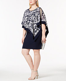 R & M Richards Plus Size Printed Capelet Dress
