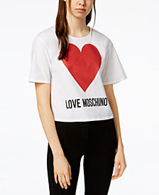 Love Moschino Shimmer Heart Logo T-Shirt