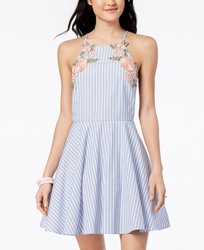 City Studios Juniors' Striped Applique Fit & Flare Dress