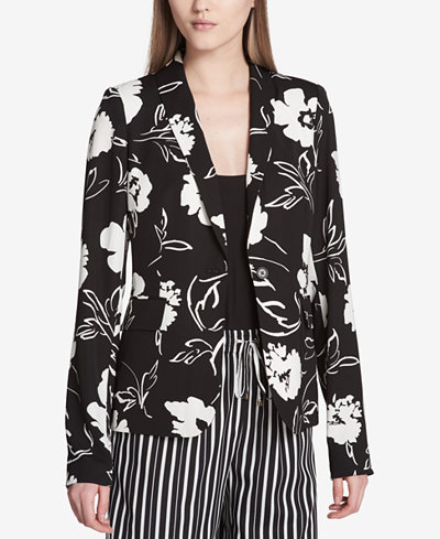 Calvin Klein Printed Shawl-Collar Blazer