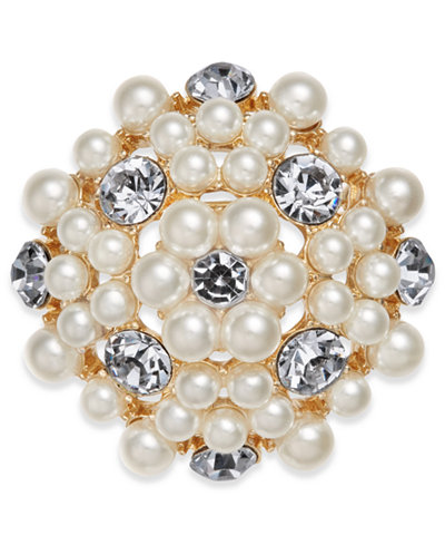 Charter Club Gold-Tone Crystal & Imitation Pearl Flower Pin, Created for Macy's