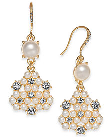 Charter Club Gold-Tone Crystal & Imitation Pearl Cluster Drop Earrings Created for Macy's