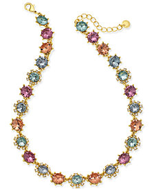 "Charter Club Gold-Tone Multi-Stone Collar Necklace, 17"" + 2"" extender, Created for Macy's"