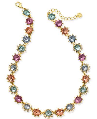 Charter Club Gold-Tone Multi-Stone Collar Necklace, 17