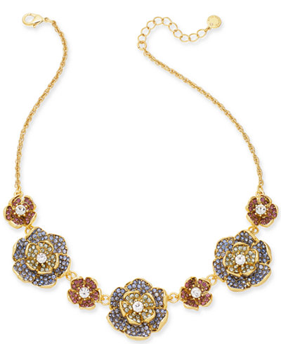 Charter Club Gold-Tone Multi-Stone Flower Statement Necklace, 17