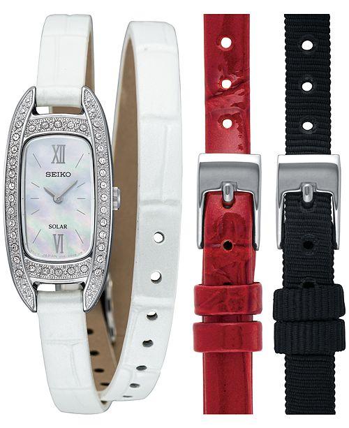 Seiko Women's Solar White Leather Wrap Strap Watch 16.5mm with Interchangeable Straps