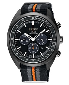 Men's Solar Chronograph Recraft Series Black, Gray & Orange Nylon Strap Watch 43.5mm
