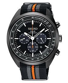 Seiko Men's Solar Chronograph Recraft Series Black, Gray & Orange Nylon Strap Watch 43.5mm