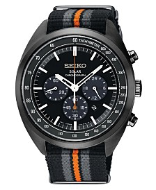 Seiko Men's Solar Chronograph Recraft Series Black, Gray & Orange Nylon Strap Watch 43.5mm