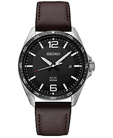 Seiko Men's Solar Essentials Brown Leather Strap Watch 43mm