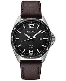Seiko Men's Solar Essentials Brown Leather Strap Watch 43mm