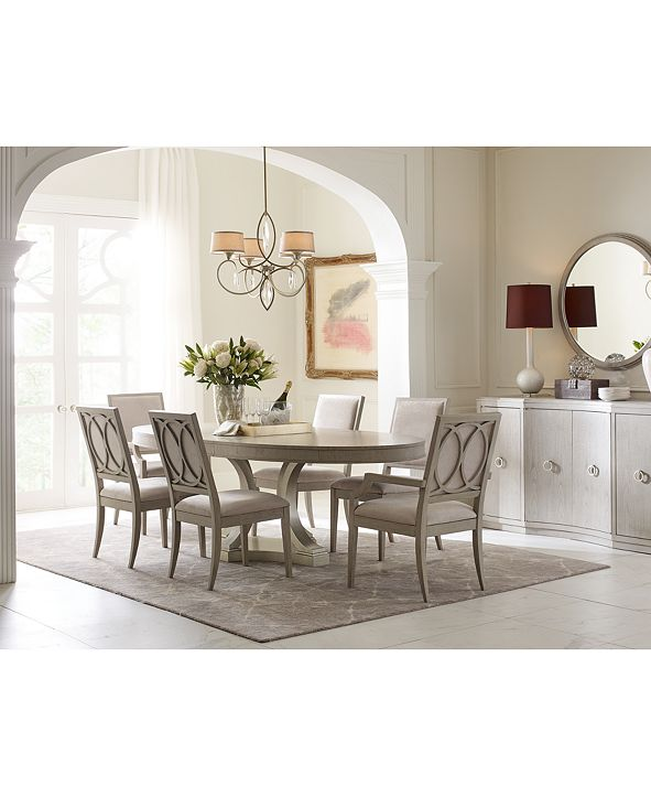 Furniture Rachael Ray Cinema Oval Dining Furniture, 7-Pc. Set (Expandable Dining Table & 6 Upholstered Side Chairs)