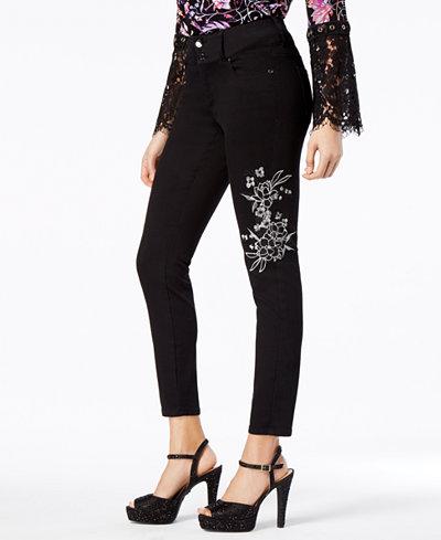 Thalia Sodi Embroidered Skinny Jeans, Created for Macy's