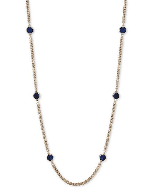 Gold-Tone Blue Stone Strand Necklace, Created for Macy's