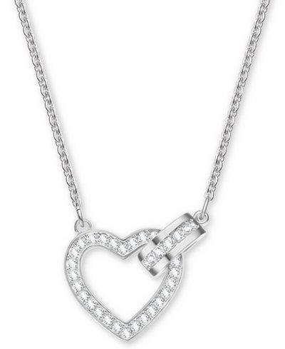 Swarovski Silver-Tone Crystal Heart & Circle Pendant Necklace