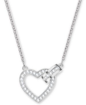 SILVER-TONE CRYSTAL HEART & CIRCLE PENDANT NECKLACE