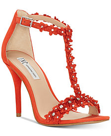 I.N.C. Women's Rosiee T-Strap Embellished Evening Sandals, Created for Macy's