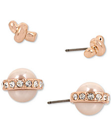 Kenneth Cole New York Rose Gold-Tone 2-Pc. Set Imitation Pearl and Crystal Stud Earrings
