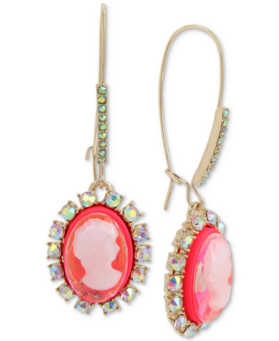 Betsey Johnson Gold-Tone Crystal & Pink Cameo Drop Earrings