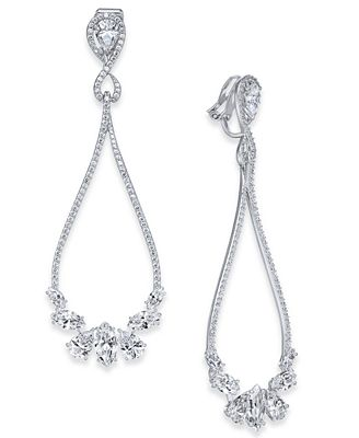 Danori Silver Tone Cubic Zirconia Open Clip On Drop Earrings