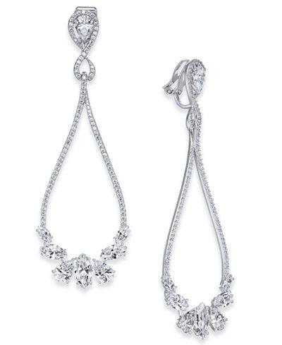 Danori Silver-Tone Cubic Zirconia Open Clip-On Drop Earrings, Created for Macy's