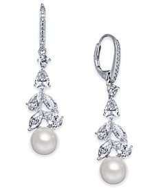 Danori Silver-Tone Cubic Zirconia & Imitation Pearl Drop Earrings, Created for Macy's
