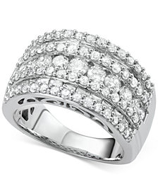 Five-Row Diamond Band (3 ct. t.w.) in 14k Gold and White Gold