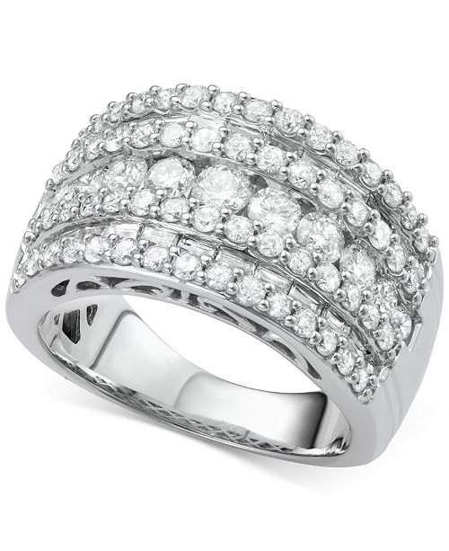 Macy's Five-Row Diamond Band (3 ct. t.w.) in 14k Gold and White Gold