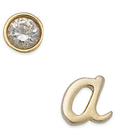 kate spade new york Gold-Tone Letter & Cubic Zirconia Mismatch Stud Earrings
