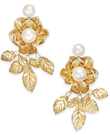 kate spade new york Gold-Tone Imitation Pearl Flower & Leaf Drop Earrings