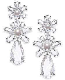 kate spade new york Silver-Tone Crystal & Imitation Pearl Flower Triple Drop Earrings