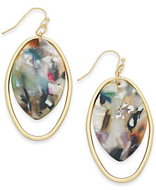 I.N.C. Gold-Tone Multicolor Acetate Stone Oval Drop Earrings, Created for Macy's
