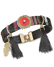 I.N.C. Gold-Tone Cotton Thread & Tassel PVC Strap Friendship Bracelet, Created for Macy's