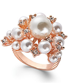 I.N.C. Rose Gold-Tone Pavé & Imitation Pearl Cluster Ring, Created for Macy's