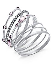I.N.C. Silver-Tone 6-Pc. Set Crystal & Purple Stone Bangle Bracelets, Created for Macy's
