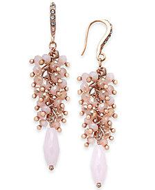 I.N.C. Rose Gold-Tone Shaky Bead & Stone Drop Earrings, Created for Macy's