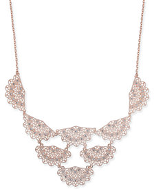 "I.N.C. Rose Gold-Tone Crystal Filigree Fan Statement Necklace, 18"" + 3"" extender, Created for Macy's"