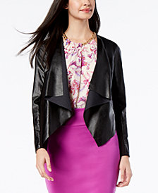 Thalia Sodi Faux-Leather Lace-Back Moto Jacket, Created for Macy's